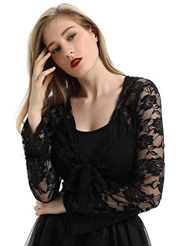 Hooded Lace (Black Gothic Hooded Lace Shrug Jacket Long Sleeve Cardigan Bolero SL47-1 S Black)