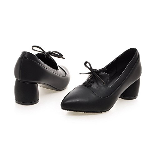 Solid Shoes Kitten Closed Lace Pumps Women's WeenFashion Pointed Pu Heels Toe Black Up pFqwPz