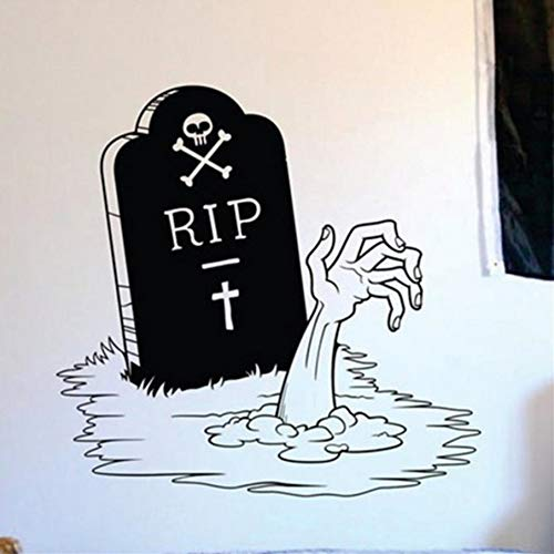 TWJYDP Wall Sticker Wallstickers Happy Halloween Zombie Hand and Tombstone Living Room Vinyl Carving Wall Decal Sticker for Holiday Party Home Window Decor 58X58Cm]()