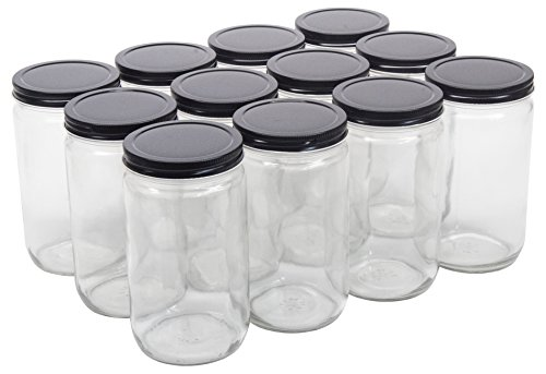 North Mountain Supply 32 Ounce Quart Straight Sided Wide Mouth Canning Jars - with Black Metal Lids - Case of 12 ()
