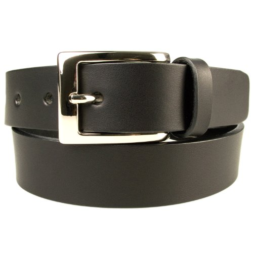 Italian Made Black Leather (M, 34-38, Black, Leather Belt - 1 3/16