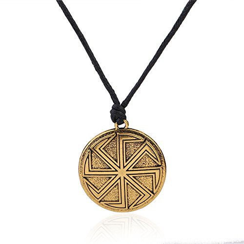 Amulet Slavic Wicca Sigil Talisman Antique Kolovrat Symbol Pendant Sun Wheel Necklaces Jewelry (Antique Gold) (Sun Wheel Pendant)