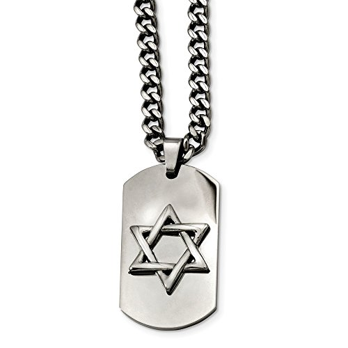 (ICE CARATS Stainless Steel Jewish Jewelry Star of David Dog Tag Pendant Chain Necklace Charm Dogtag Religious Fashion Jewelry Gifts for Women for Her)
