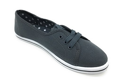 Falts Women EASY21 Lace Gray Ballet Canvas up Shoes d11wfqFIx