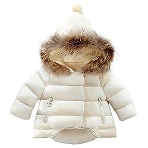 Jojobaby Baby Boys Girls Hooded Snowsuit Winter Warm Fur Collar Hooded Down Windproof Jacket Outerwear (6-12 Months, Beige)