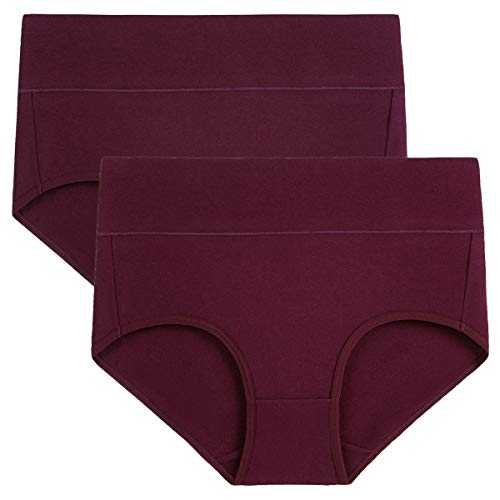 wirarpa Women's 2 Pack Cotton Underwear High Waisted Full Coverage Brief Panties Ladies Comfortable Underpants Deep Red, Size 9 (Big Underwear)