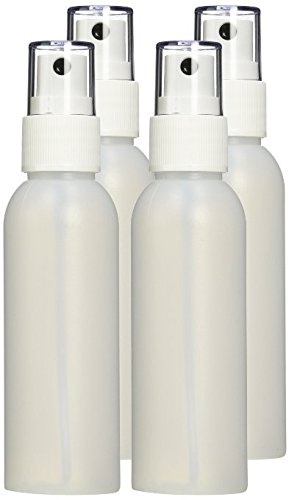 Moyo Natural Labs 2 Ounce HDPE Fine Mist Spray Bottles (4 pack) BPA Free TSA Compliant Travel Size Bottle Set Made in USA (Pack of 4, HDPE Translucent - Complaints Glasses Usa