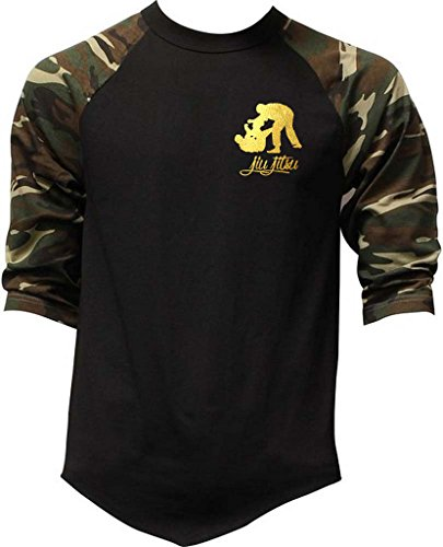 Interstate Apparel Inc Men's Gold Foil Jiu Jitsu Emblem Camo Raglan Baseball T-Shirt Camo – DiZiSports Store