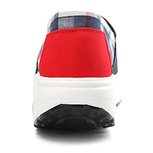 SUNAVY Damen Einfach Slip-on Canvas Low Top Plateau Leinwand Aufzug Schuhe Sportliche Leichte Turnschuhe Freizeitschuhe Rennschuhe Loafers (EU 34—EU 39) Schwarz-2