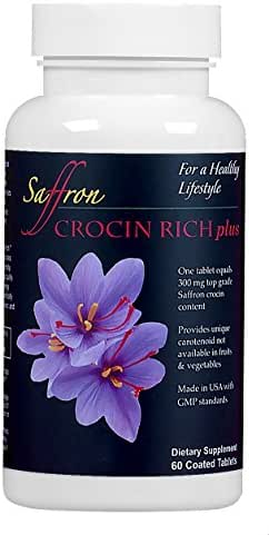 A Tablet of CROCIN RICH plus, 60 Ct/Bottle for 2 Months, Provides Concentrated Natural Crocin Equivalent to 300mg of Top Grade Saffron and 6 Other Antioxidants for Body and Mind