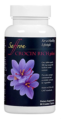 A Tablet of CROCIN RICH plus, 60 Ct/Bottle for 2 Months, Provides Concentrated Natural Crocin Equivalent to 300mg of Top Grade Saffron and 6 Other Antioxidants for Body and Mind by Saffron Health Sciences