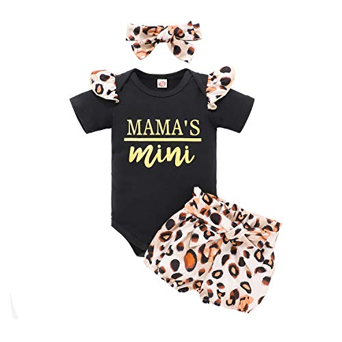 Toddler Girls Summer Outfits Sets 1t 12-18 Months Mamas Girl Mini Leopard Orange Black Rompers Onesies Pants Set with Bows Headband