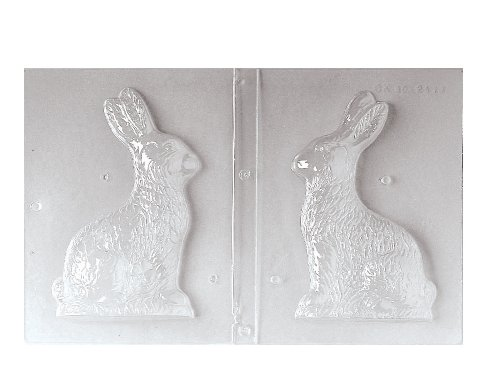 Paderno World Cuisine Single Imprint Polypropylene 7.875 Inch Side-View Bunny Chocolate Mold (Front and Back) ()