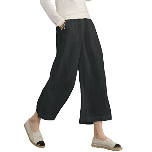 Ecupper Womens Casual Loose Plus Size Elastic Waist Cotton Trouser Cropped Wide Leg Pants Black, Medium (US 8-10)
