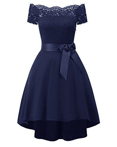 EvoLand High Low Short Prom Bridesmaid Dresses for Juniors Girls Dresses 7-16 Navy Blue ()