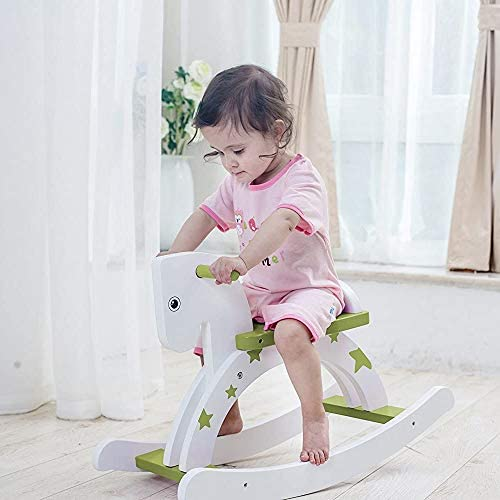 Labebe ベビーウッドロッキングホース 1-3歳のキッズ木製木馬 子供用乗用玩具 乗れ物 - グリーンスター