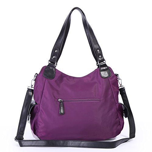 Angelkiss Women Top Handle Satchel Handbags Shoulder Bag Messenger Tote Nylon Material Purses Bag (Purple-1) by Angel Kiss (Image #4)