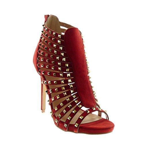 Chaussures Angkorly Dames Pompe Sandales - Stiletto - Haute - Sandales Romaines - Rivets - Occupé - Multi-bride - Stiletto Haut Talon Doré 11,5 Cm Rouge