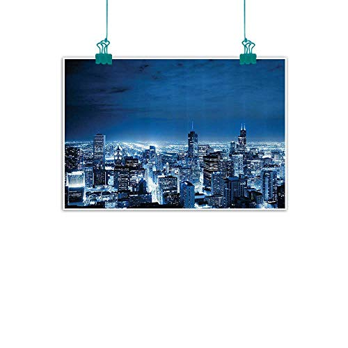 Apartment Decor Collection Simulation oil painting Aerial View Of Chicago Developed Success Horizon Dusk Structure Tourism View Decorative painted sofa background wall 35