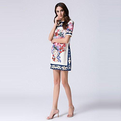Robes Imprimées Cotylédons Pour Les Femmes Ramassent Cou À Manches Courtes Slim Fit Une Robes En Ligne