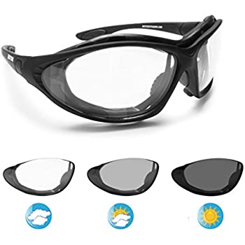 0b3df1e8053 Bertoni Motorcycle Goggles Photochromic Antifog Lens - Interchangeable Arms  and Elastic Strap - F333A Italy Motorbike Sunsensor Riding Padded Glasses