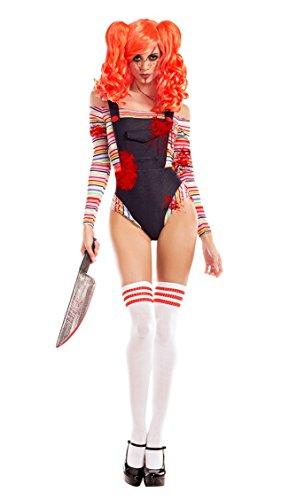 Party King Women's Killer Doll Costume, Denim/Multi,