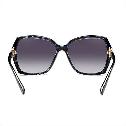 protección WLHW Color Resina de Gafas Gafas femeninas larga color Floral sol cuadradas UV redonda de Face Big Cara Glasses Elegante Polarizer de Cara sol Bright black qffwYx1r