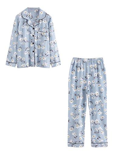 Milumia Women's Pattern Print Revere Collar Casual Cute Pajama Set Medium - Revere Collar