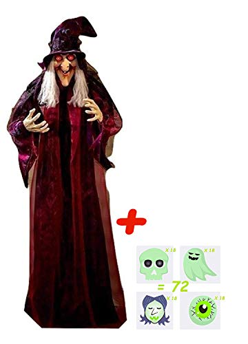 4E's Novelty Hanging Talking Animated Witch Halloween Life Size Prop Decor, Scary Spooky Haunted House Decoration, Light up Eyes, 72