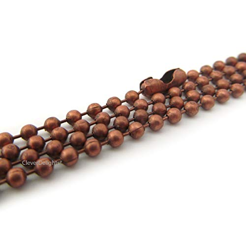CleverDelights 20 Pack Ball Chain Necklaces - Antique Copper Color - 24 Inch - Jewelry Findings - 2.4mm Ball - Adjustable Antiqued Necklaces - 24