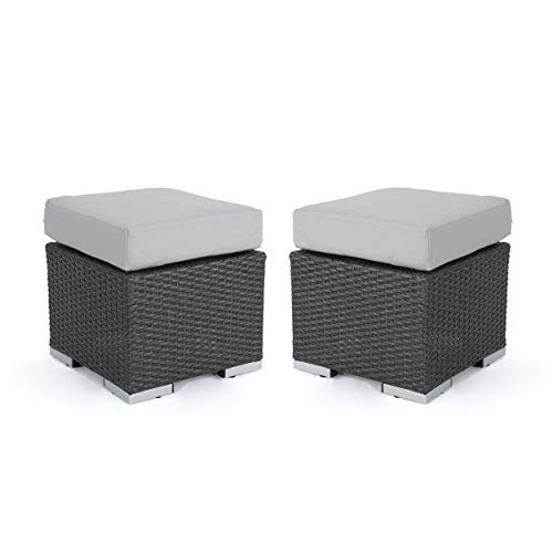 Great Deal Furniture Malibu Outdoor 16 Inch Grey Wicker Ottoman Seat with Silver Water Resistant Cushion Set of 2