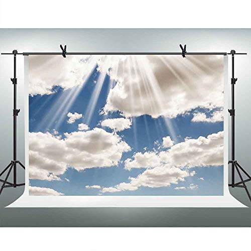 FHZON 10x7ft Blue Sky White Clouds Photography Backdrops Sunshine Background Nature Landscape Themed Party Wallpaper Photo Booth Props LSFH501-1