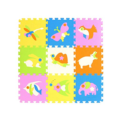 Glad You Came 9Pcs Animal Pattern Foam Puzzle Kids Rug Carpet Split Joint EVA Baby Play Mat Indoor Soft Activity Puzzle Mats Gym,China,P017,30cm 30cm 1cm