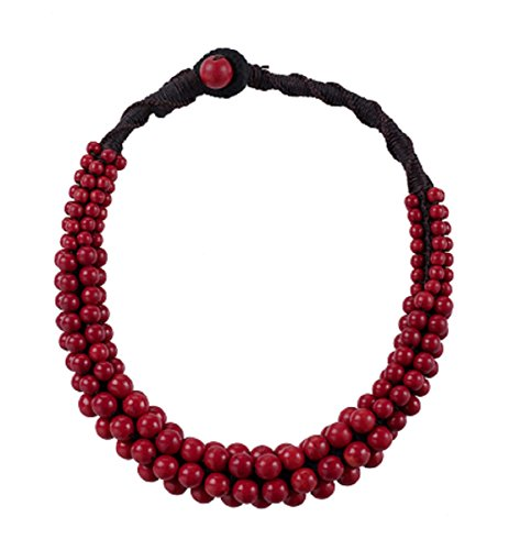 MagicYiMu Handmade Multi Strand Faux Red Turquoise Beaded Statement Necklace Jewelry for Women ()