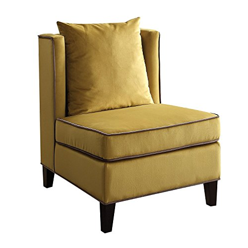 Major-Q Wing Back Style Velvet Accent Chair for Bedroom / Living Room, Solid Pattern with Contrasting Trim, Yellow Finish with Black Trim 29 x 32 x 39 (Chair Wingback Yellow)