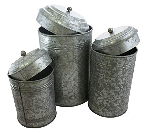 (Well Pack Box Galvanized Canister Set Farmhouse Rustic Collection For Kitchen 12 and 9 and 7 Tall)