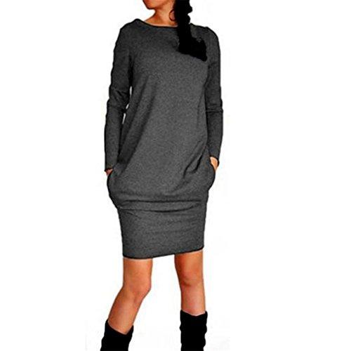 Women Dress,Haoricu Fall Womens' Fashion Elegant Casual Package Hip Slim Mini Pencil Cocktail Dress (XL, Dark Gray)