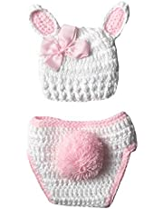 SH-RuiDu Baby Crochet Knit Outfits, Comfortable Infant Photography Props Hat + Pants for 0-3 Months Newborn Girls Gift