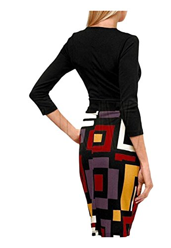 Mode Ca Contrôles Femmes Manches 3/4 Robe Crayon Bloc De Couleur Noire