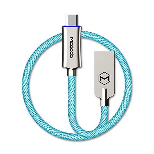 USB Type-C Smart LED Auto Disconnect Quick Charge Data 3.2FT/1M Cable QC 3.0 for for Samsung Galaxy S8, S8+, The New MacBook,Google Pixel,Nexus 6P,LG V20 G5,HTC 10 & More by Mcdodo (Sky Blue)