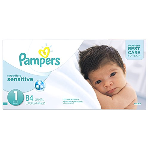 Pampers Swaddlers SENSITIVE Disposable Baby Diapers Size 1 (< 4.5 kg), Super Pack, 84 Count