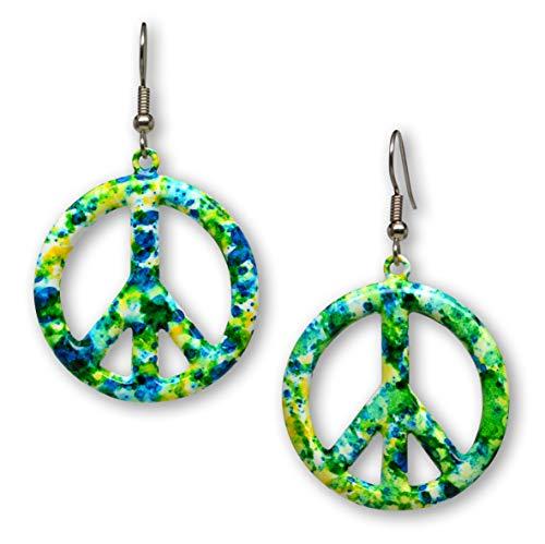 Green Blue Hippie Tie Dye Peace Sign Enamel on Pewter Dangle Earrings