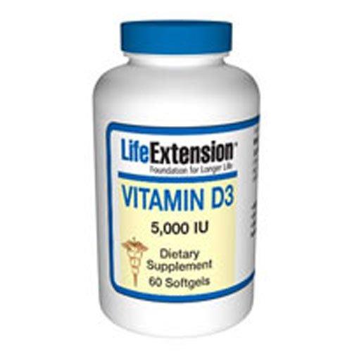 Life Extension VITAMIN D 3 5000 IU 60 CAPSULES ( Multi-Pack)