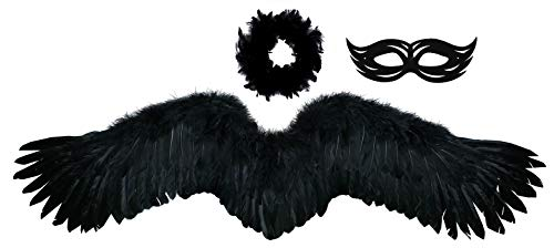 FashionWings (TM Black Wide Spread Costume Feather Angel Wings, Halo & Mask]()