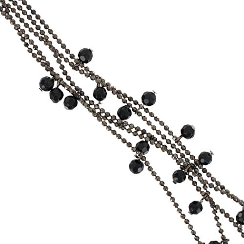 - Gunmetal Gray Beaded Fringe Layered Multi Strand For Women