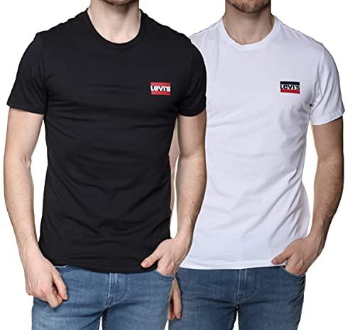 Levi's 2pk Crewneck Graphic Camiseta, Multicolor (2 Pack Sw White/Mineral Black 0000), Medium para Hombre