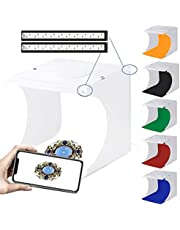 TECHVIDA Portable Light Box Photo Studio Photography Shooting Tent Kit 6 Backdrops, Semi Professional Portable Photo Studio Light Box, Product Photography Kit with 2 Adjustable LED Strips 40Leds and 2 USB and 6 Colored Backgrounds(22*23*24cm)