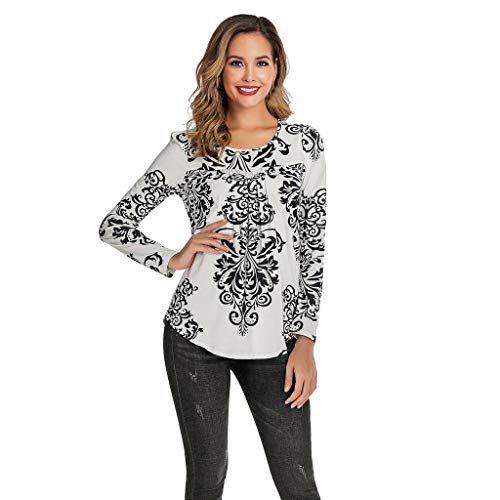 POQOQ Women Casual Boho Print Shirt Scoop Neck Pleated Blouse Long Sleeve Top(White,XXL) -