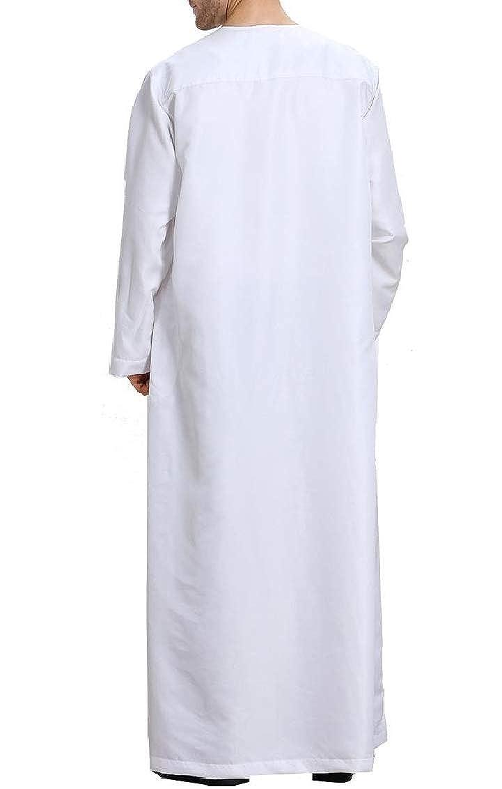 Fseason-Men Arab Thobe Relaxed Button Islamic Muslim Blouses and Tops Shirts