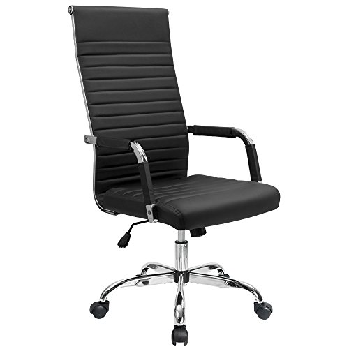 Mid Back Executive Leather Chair (Furmax Ribbed Office Chair High Back PU Leather Executive Conference Chair Adjustable Swivel Chair With Arms (Black))